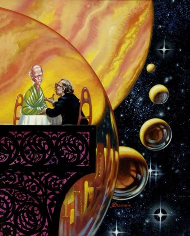 Frank Kelly Freas depicts Isaac Asimov in space, 1978