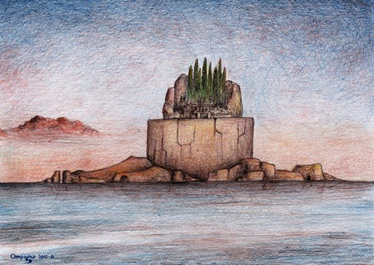 Variazione su L'isola dei morti (21 x 29,7 matita su carta & digital devices) (agosto 2012)
