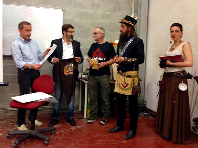 La premiazione del contest, ieri a Torino, con il padrone di casa Roberto Cera, Franco Brambilla, il vincitore assoluto Diego Capani (Grosseto), la vincitrice della categoria Personaggi Nyn Brighid (Paula Capilla Mirea