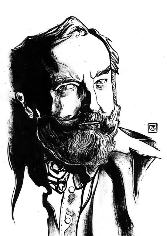 Michael Moorcock - Illustrazione realizzata da Siriana Crastolla