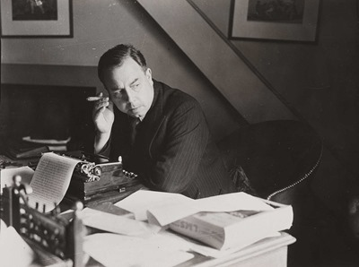 4 - J B Priestley at work in his study, 1940